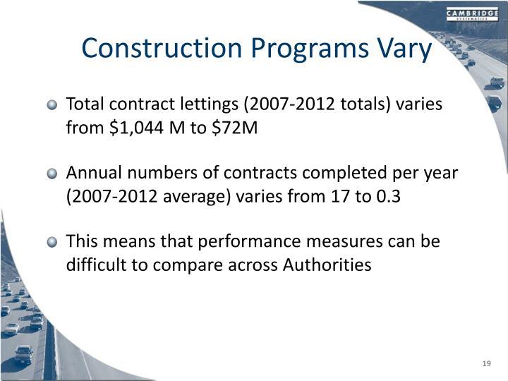 Construction Programs Vary