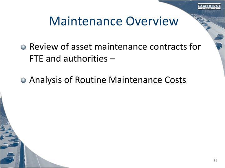 Maintenance Overview
