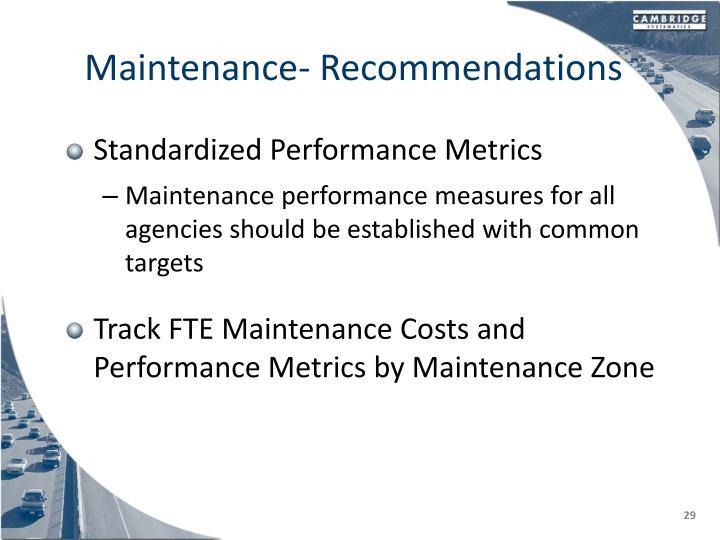 Maintenance- Recommendations