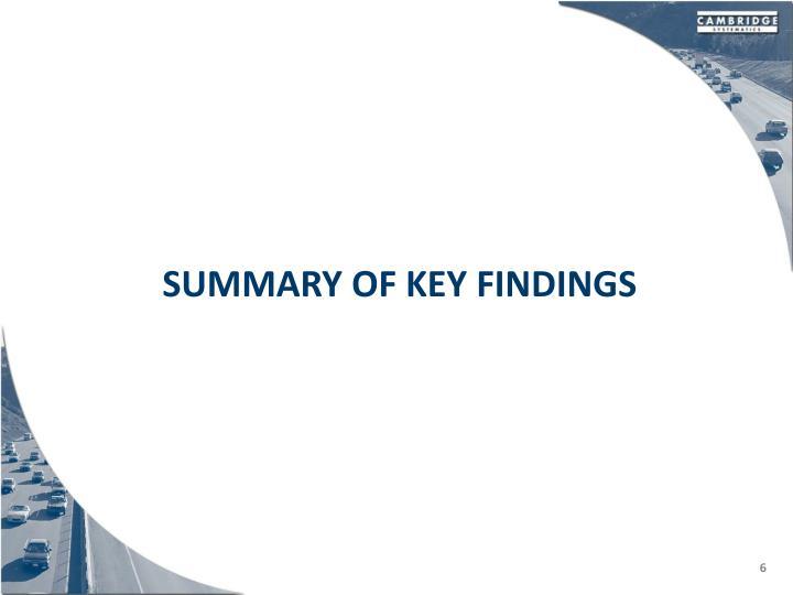 Summary Of key findings