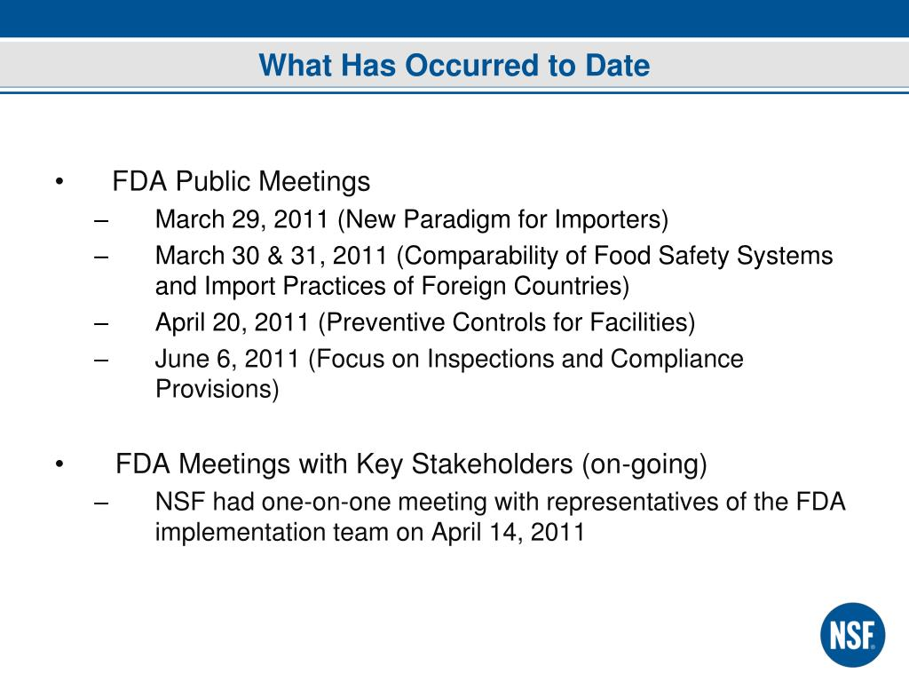 PPT - U S  Food Safety Modernization Act and the Impact on