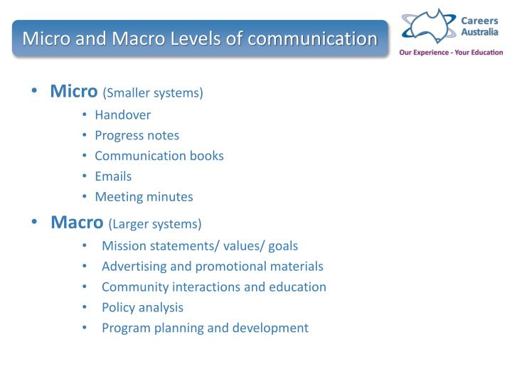 Micro and Macro Levels of communication