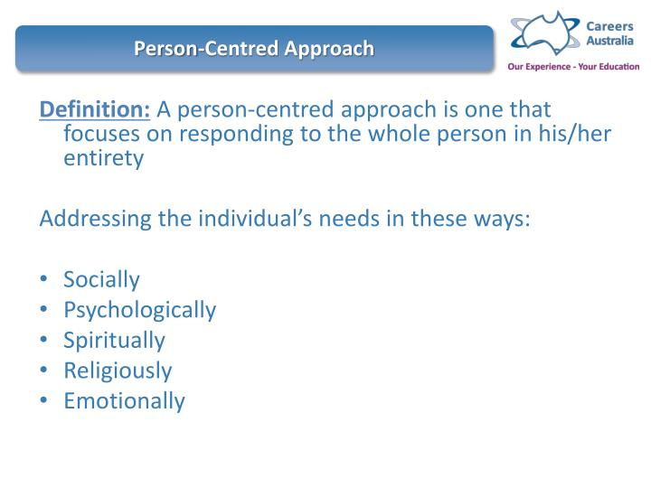 person centred approaches 3 essay I also used equitable allocation of personal resources towards my patient useful care or support plans are beneficial in supporting person centered values in practice since they give guidelines on how the patient wants the care process to be implemented.