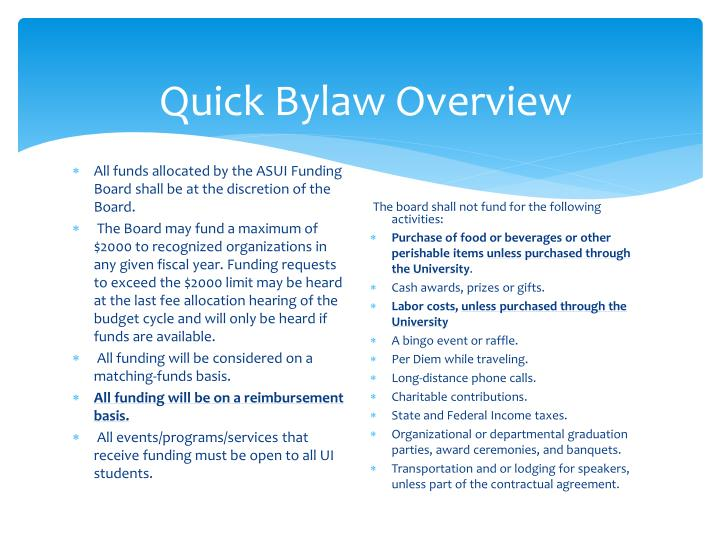 Quick Bylaw Overview