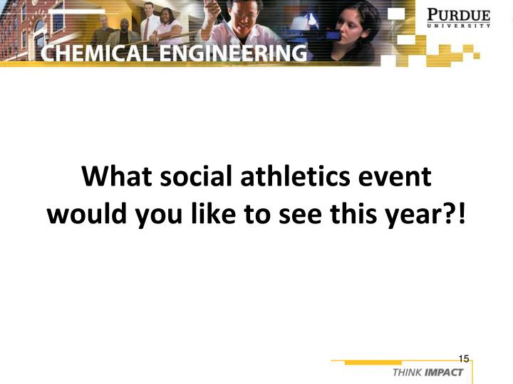 What social athletics event would you like to see this year?!