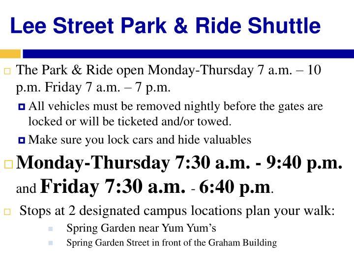 Lee Street Park & Ride Shuttle
