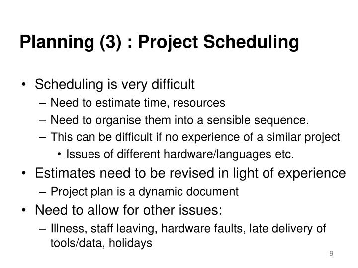 Planning (3) : Project Scheduling