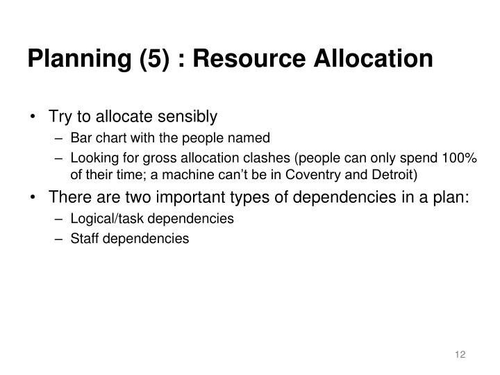 Planning (5) : Resource Allocation