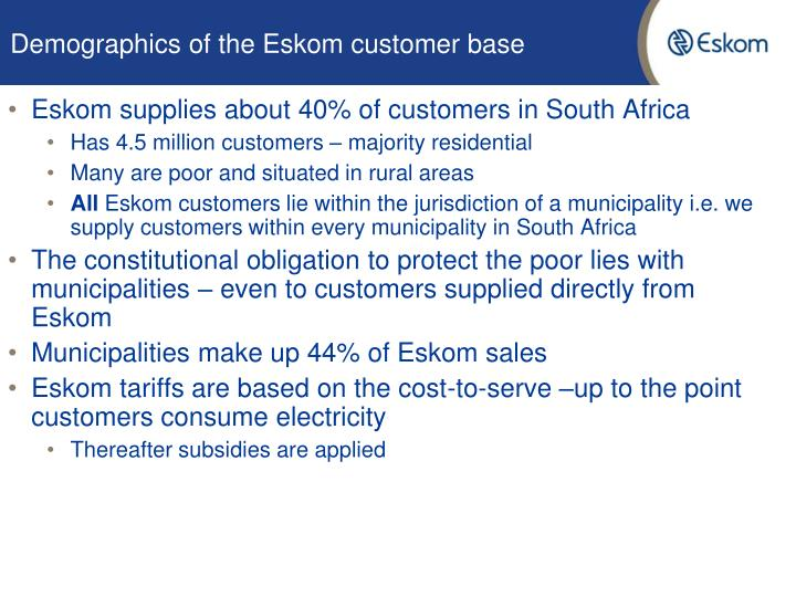 Demographics of the eskom customer base