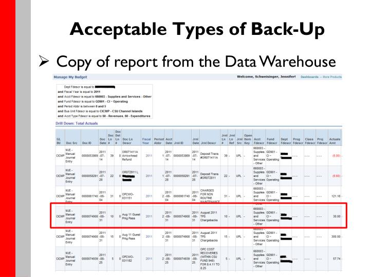 Acceptable Types of Back-Up