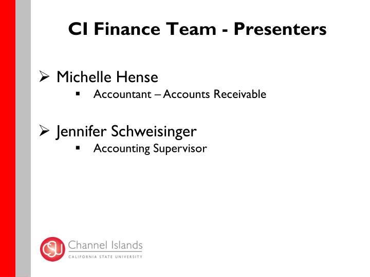 Ci finance team presenters