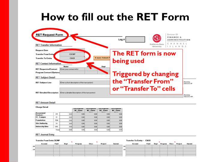 How to fill out the RET Form