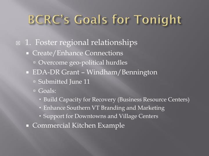 Bcrc s goals for tonight