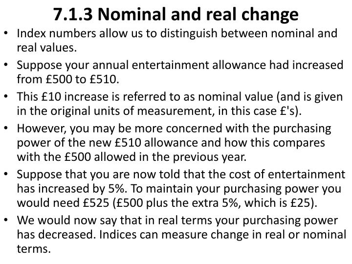7.1.3 Nominal and real change