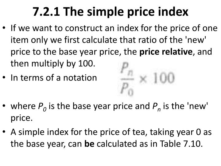 7.2.1 The simple price index