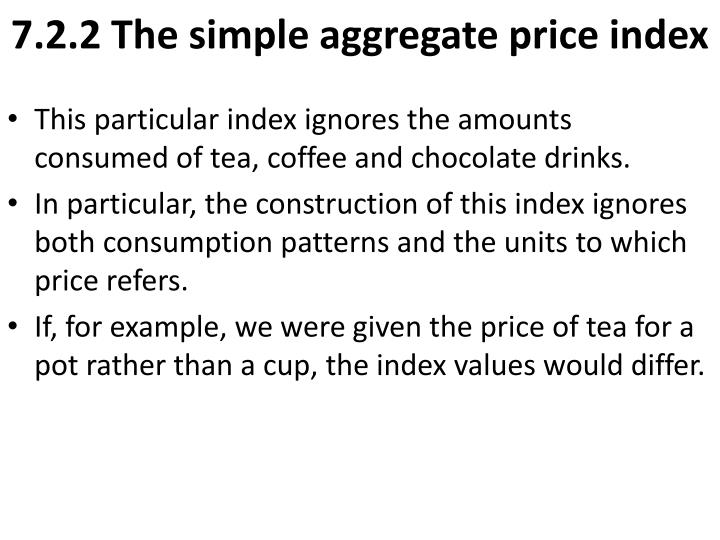 7.2.2 The simple aggregate price index
