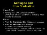 getting to and from graduation