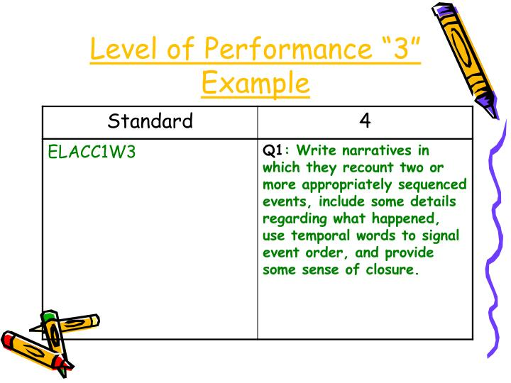 """Level of Performance """"3"""" Example"""