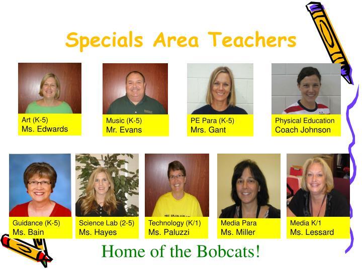 Specials Area Teachers