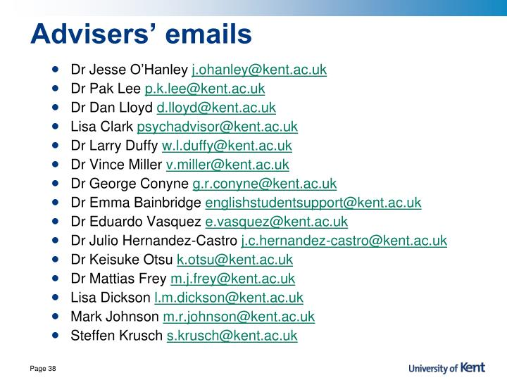 Advisers' emails