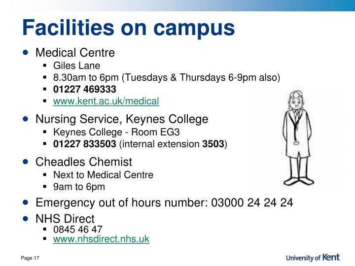 Facilities on campus