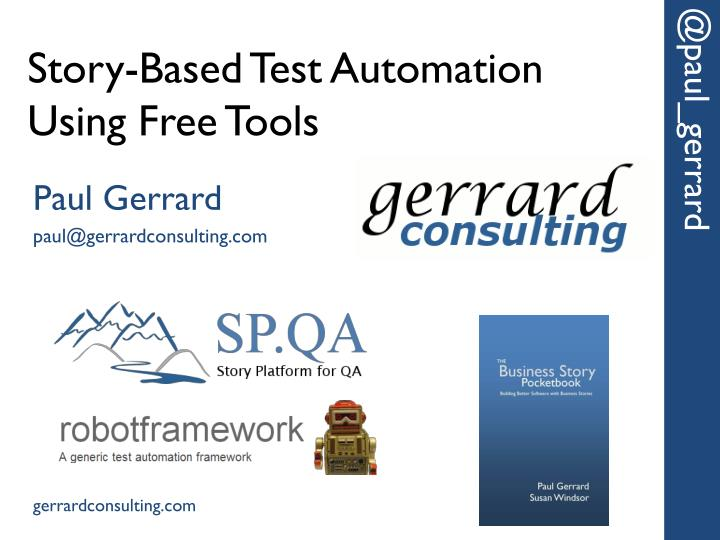 story based test automation using free tools n.