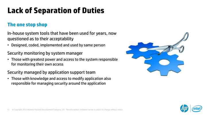 Lack of Separation of Duties