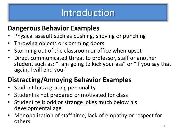 Dangerous Behavior Examples