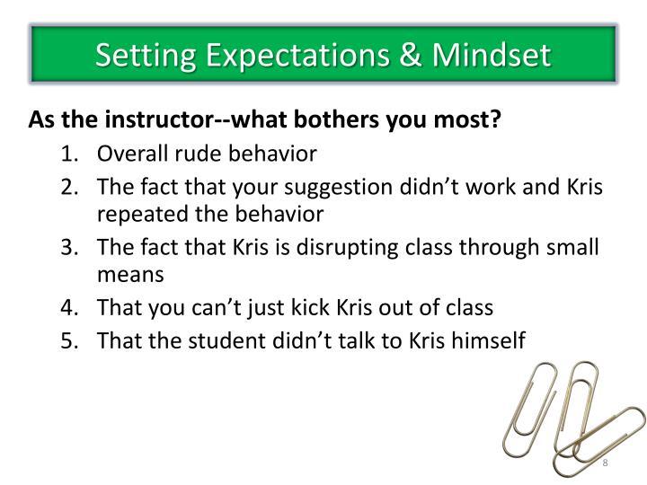 Setting Expectations & Mindset
