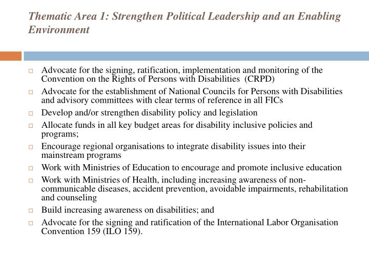Thematic Area 1: Strengthen Political Leadership and an Enabling Environment