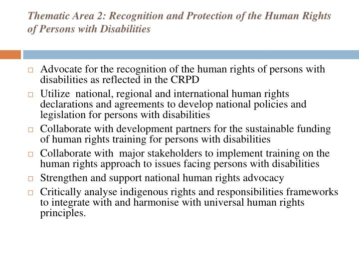 Thematic Area 2: Recognition and Protection of the Human Rights of Persons with Disabilities