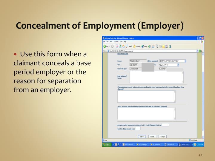 Concealment of Employment (Employer)