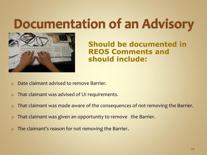Documentation of an Advisory