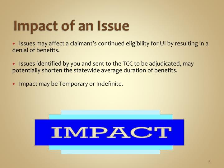 Impact of an Issue