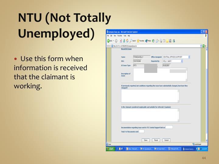 NTU (Not Totally Unemployed)