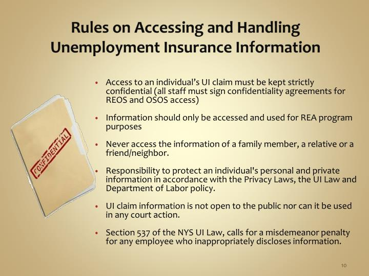 Rules on Accessing and Handling Unemployment Insurance Information