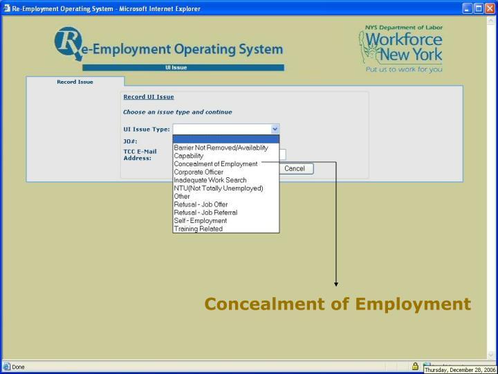 Concealment of Employment