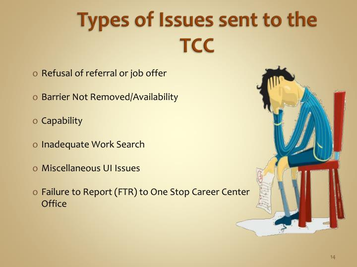 Types of Issues sent to the TCC