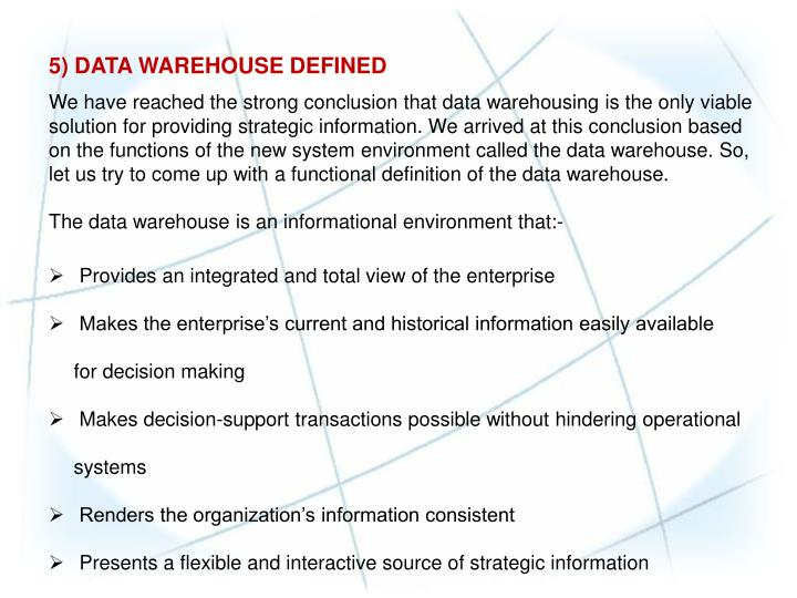 conclusion of warehousing