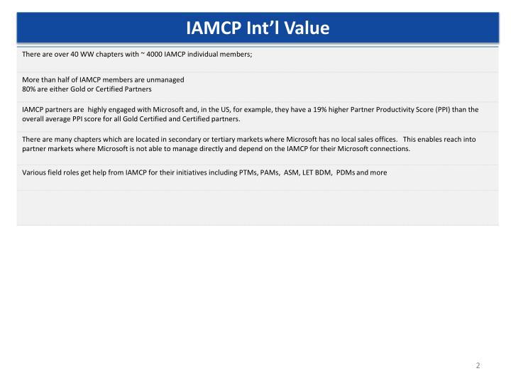 IAMCP Int'l Value