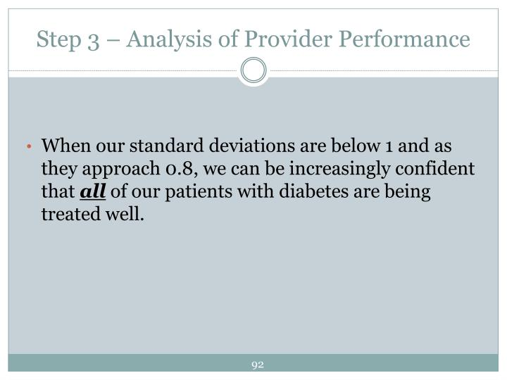 Step 3 – Analysis of Provider Performance