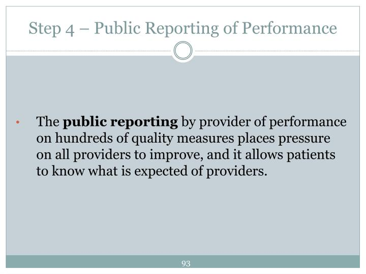 Step 4 – Public Reporting of Performance
