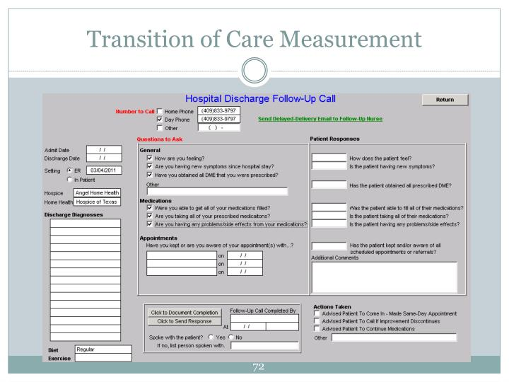Transition of Care Measurement