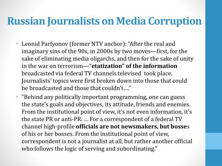 Russian Journalists on Media Corruption