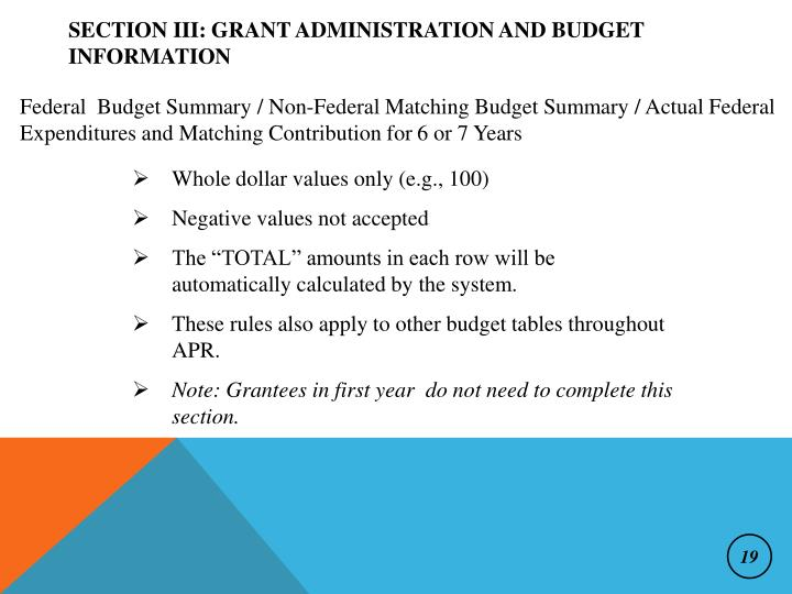 Section III: Grant Administration and Budget Information