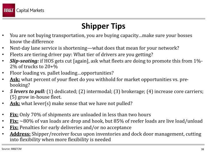 Shipper Tips