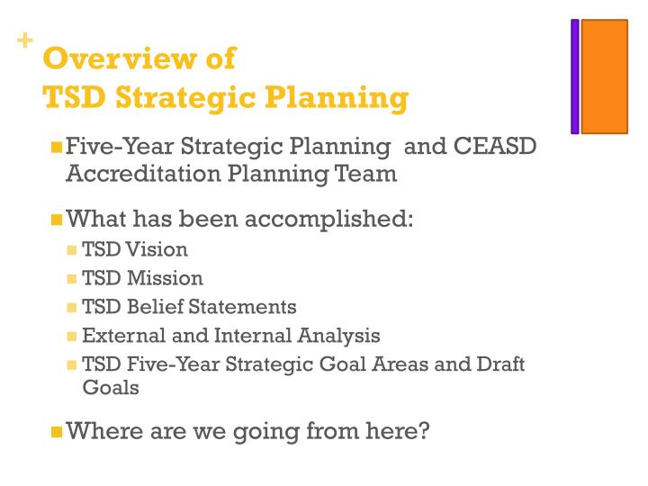Overview of tsd strategic planning