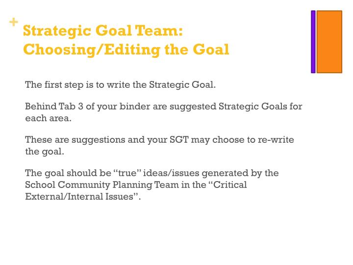 Strategic Goal Team: