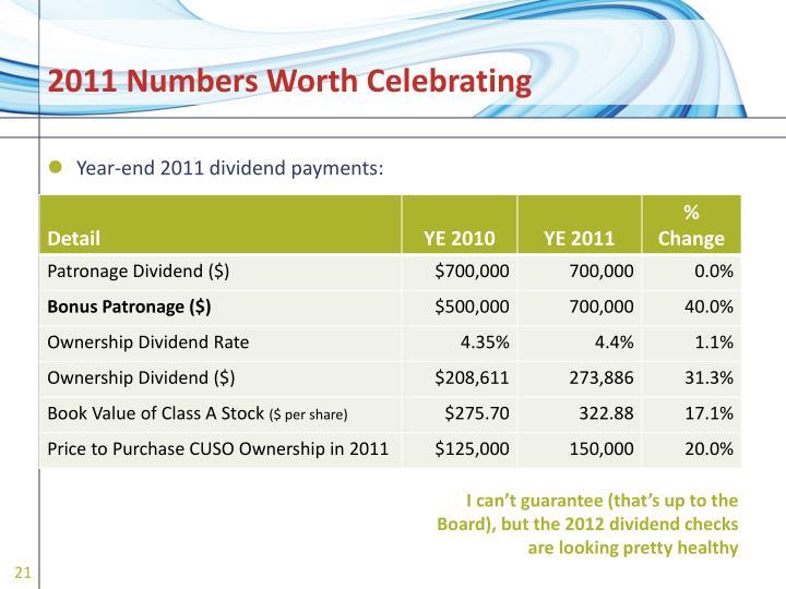 2011 Numbers Worth Celebrating