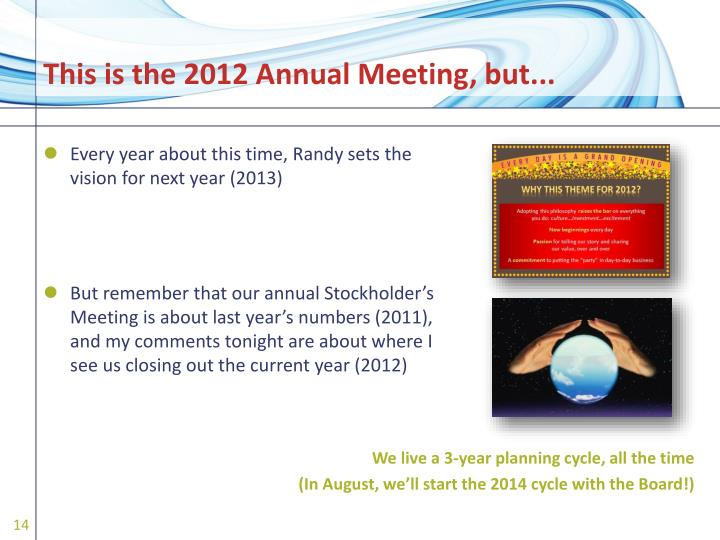 This is the 2012 Annual Meeting, but...